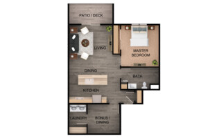 Floor plan for 1 Bed, 1 Bath Plus Bonus