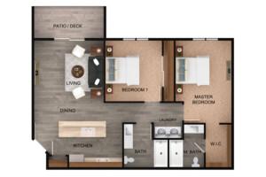 Floor plan for 2 Bed, 2 Bath Standard