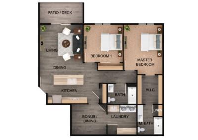 Floor plan for 2 Bed, 2 Bath Plus Bonus
