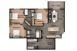 Floor plan for 3 Bed, 2 Bath Plus Bonus