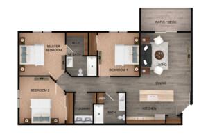 Floor plan for 3 Bed, 2 Bath Standard