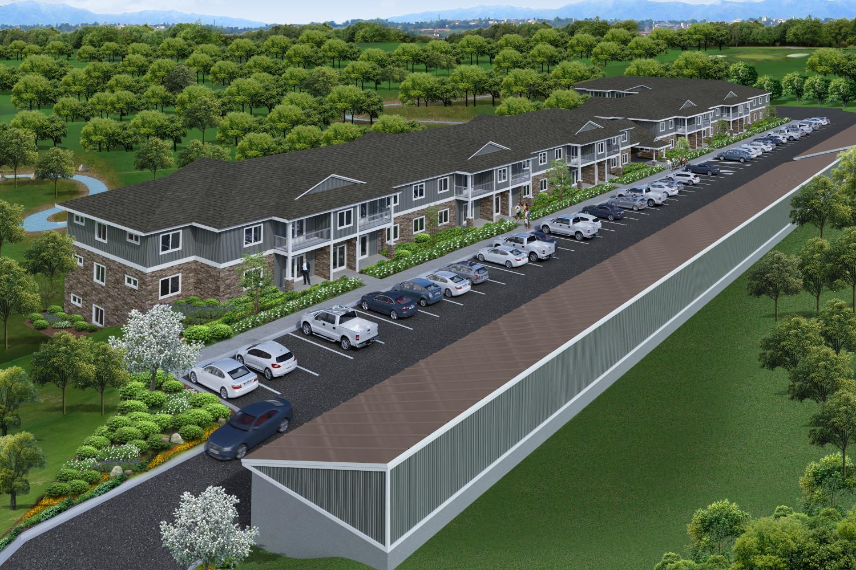 Aerial Rendering for Coldwater Creek Apartments - La Crosse Wisconsin - Roush Rentals
