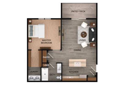 Floorplan for 1 Bed 1 Bath Standard
